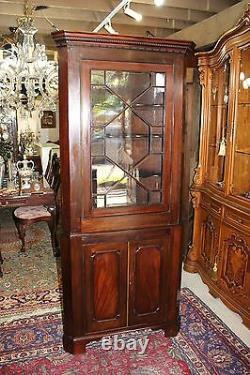 Antique Mahogany Wood 2 Door Tall Narrow Corner Cabinet With Light