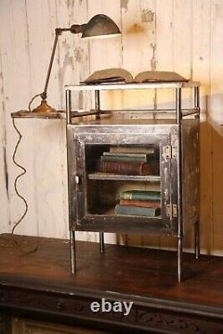 Antique Medical Cabinet industrial end table apothecary glass door dental steel