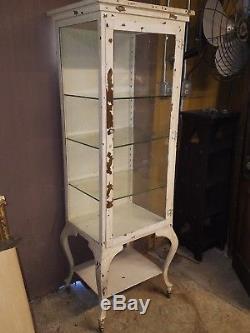 Antique Medical Cabinet W Cabriole Legs Vtg Doctor Dental Industrial Display