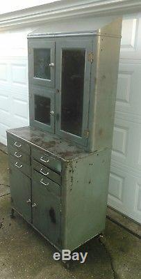 Antique Medical Dental Cabinet Industrial Apothecary Steampunk