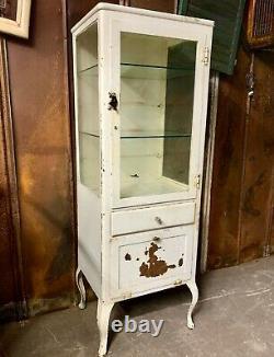 Antique Medical Dental Cabinet Vintage Metal Wavy Glass, Shelves Cabriole Legs