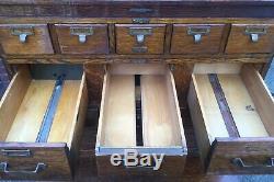 Antique O. M. Edwards Oak 6 pc Stacked Flat File, Card Catalog w. Base & Cornice