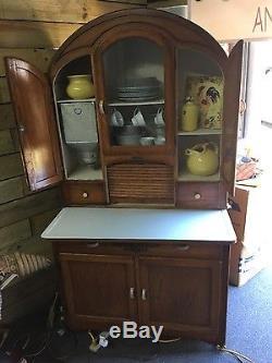 Antique Oak Hoosier Cabinet Round Top With Stencils