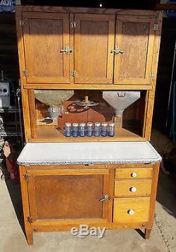 Antique OAK HOOSIER Kitchen Cabinet with Flour & Sugar Bins, Spice Set