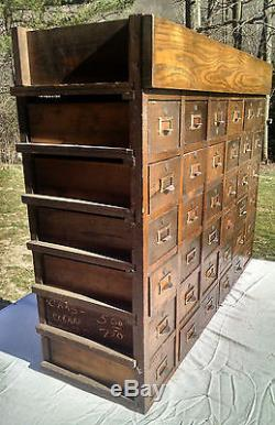 Antique Oak 36 drawer index library apothecary cabinet catalog tool 29 x 38