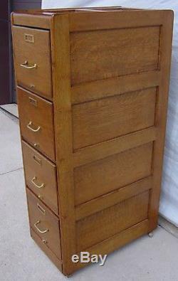 Antique Oak 4-Drawer Letter Size File Cabinet