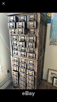 Antique Oak 42 Drawer Industrial Parts Cabinet Apothecary