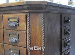 Antique Oak 72-Drawer Octagonal Merchandse/Craft/Tool/Sewing 4-Side CABINET 1900