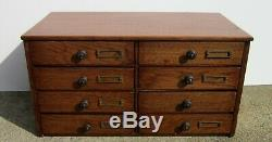 Antique Oak 8 Draw Jewelry, Dental, Sewing, Library, File Cabinet