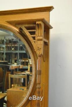 Antique Oak Barber Back Bar Beveled Mirror Marble Inserts Carved Oak Leaves