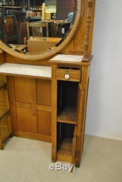 Antique Oak Barber Back Bar Beveled Mirror Marble Inserts