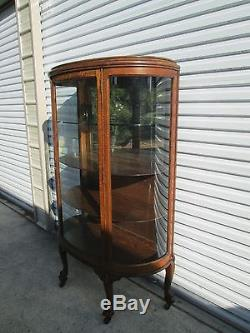 Antique Oak Bow Front Clawfoot China Display Curio Cabinet