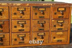 Antique Oak Card Catalog File Cabinet 18 Drawer Brass Pulls Wood Organizer box