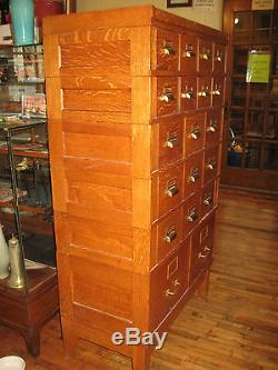 Ordinaire Antique Oak Card Catalog Stacking File Cabinet Chest 19 Drawers Artist  Crafts