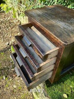 Antique Oak Cased Industrial Printers Cabinet, Great Original Patina