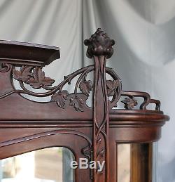 Antique Oak China Curio Cabinet Art Nouveau style Beautiful