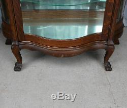 Antique Oak China Curio Cabinet original finish serpentine glass