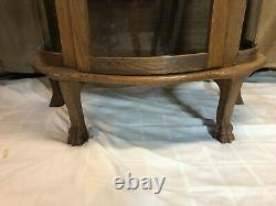 Antique Oak China or Curio Cabinet Lion heads and claw feet