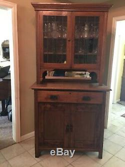 Antique Oak Cupboard Hutch, Kitchen Cabinet, China cabinet, Oak