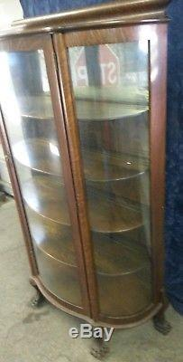 Antique Oak Curio Cabinet Curved Gl Mirrored Back Claw Serpent Feet Mint