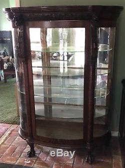 Antique Oak Curio China Cabinet Carved Lion Mirrored Back Glass Shelves Paw Feet