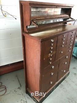 Antique Oak Dental Storage Cabinet Dentist Chest Crystal Handles
