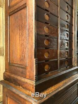 Antique Oak File Cabinet, Ambergs Cabinet Letter File, Card Catalog, Apothecary