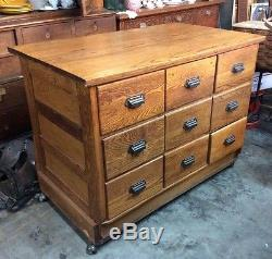 Antique Oak General Store Seed Counter/Cabinet WithDrawers 29x47 x 3' tall