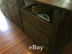 Antique Oak General Store Wood Countertop Cabinet