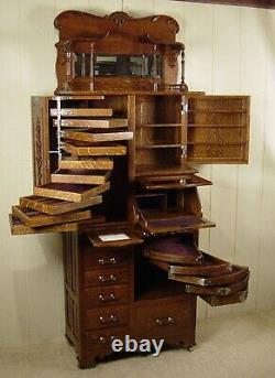 Antique Oak Harvard Co. Dental Cabinet Model #46X