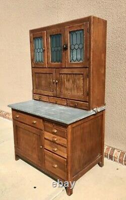 Antique Oak Hoosier Cabinet With Galvanized Pull Out Counter