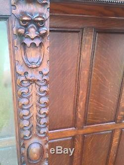 Antique Oak Lion face Carved Curved Glass China Display Cabinet Vintage paw foot