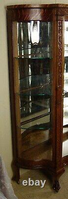 Antique Oak Serpentine Glass China Cabinet
