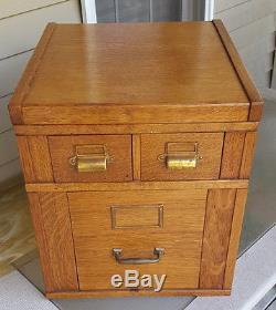 Antique Oak Stacking Desk Top File Cabinet