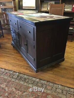 Antique Oak Store Counter Work Station Cabinet withDrawers Storage Kitchen Island