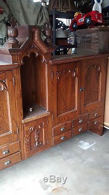 Antique Oak Vestry Cabinet