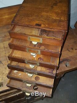Antique Oak Weis 6 Drawer Cabinet Legal Document Card Catalog