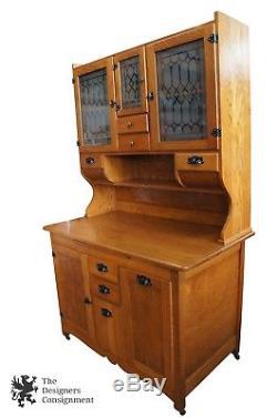 Antique Oak Wilson Kitchen Cabinet Stepback Cupboard Hoosier Flour Bin Primitive