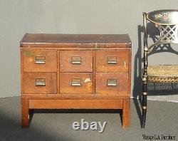 Antique Oak Wood Industrial Rustic Six Drawer Card Catalog File Cabinet