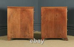 Antique Pair of Art Deco Figured Walnut Bedside Cabinet Chests Tables Nighstands