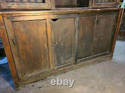 Antique Pharmacy General Store Display Cabinet In Quarter-Sawn Oak