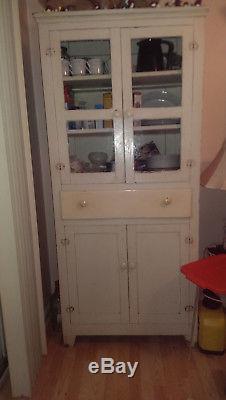 Antique Pie Safe Cabinet Accent Table Vintage Storage