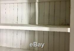 Antique Pine Kitchen Glass Cabinet Cupboard Hutch 2 Pc