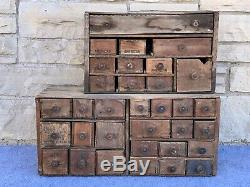 Antique Primitive 33 Drawer Wood Cheese Box Apothecary Hardware Cabinet