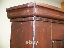 Antique Primitive Corner Cupboard Cabinet Divided Glass Door Pine & Poplar