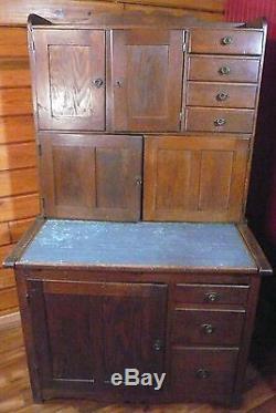 Antique Primitive Farmhouse Oak Hoosier Cabinet Original