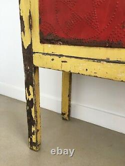 Antique Primitive Folk Art Pie Safe Punched Tin Original Red Yellow Paint Stars