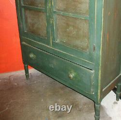 Antique Primitive Green Punched Tin Pie Safe Mid-Late 1800s, Northeast Americana