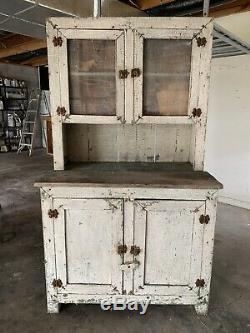 Antique Primitive Kitchen Cabinet Painted Farmhouse