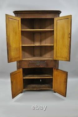 Antique Primitive Rustic Brown Distressed Painted Corner Cupboard Cabinet 77